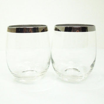 Set of 2 large roly poly glasses - Dorothy Thorpe glasses with silver bands - Mad Men style glasses - Mid-century bar ware bar decor