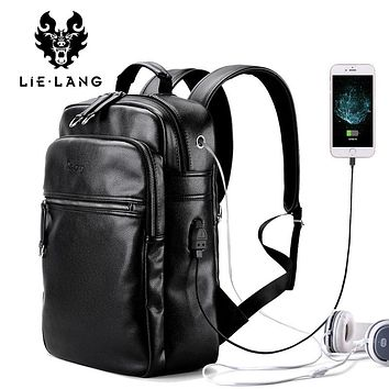 Arrival Men Backpack PU Leather Backpacks Laptop Bags External USB Charge Computer Anti theft Backpack