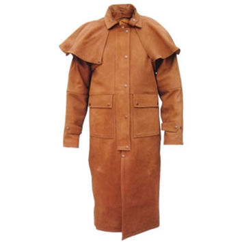men,s brown 100% pure leather duster with high quality cowhide leather