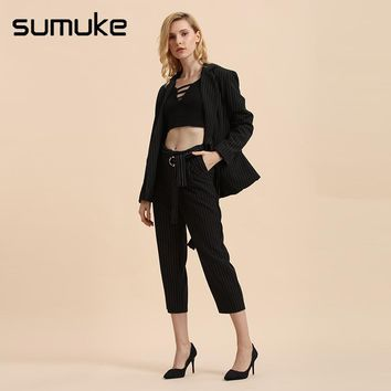 Sumuke Sexy Women Black Two Piece Set Stripe Bandage Blazer Cropped Trousers Spring Autumn Office Women Basic Two Piece Clotthes