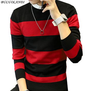 Men's sweater striped sweater red and black two colors M-XXL