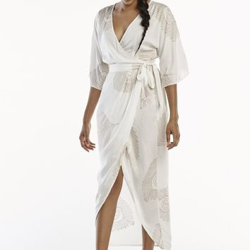 Peacock Kimono Wrap Dress in White & Gold