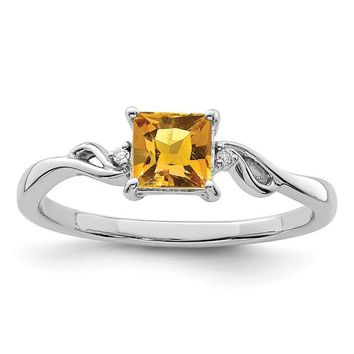 Sterling Silver Citrine Square and Diamond Ring