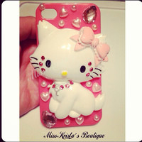 Hello Kitty iPhone 4 Case Hot Pink Hard Plastic Cover Kitty Cat Pink Case Bling Pearls