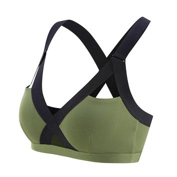 Oyoo V neck Sexy Army Green High Impact Sports Bra Wide Shoulder Straps Pink Workout Yoga Bra Top Contrast Gym Tank Tops