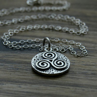 Triskele Necklace, tribal three spiral symbol, teen wolf, Celtic triple spiral in sterling silver on silver chain