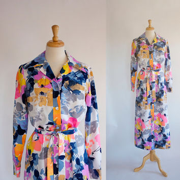 Vintage Dress / 70s Tori Richard Dress / Maxi Dress / Graphic Polyester Dress / Vintage Hawaiian Dress