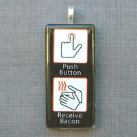 Bacon Glass Pendant Necklace Push B.. on Luulla
