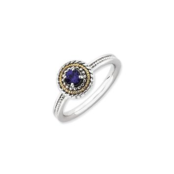 Sterling Silver & 14K Gold Plated Stackable Created Sapphire Ring