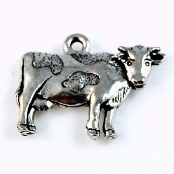 Cow Silver Pewter Charm -1