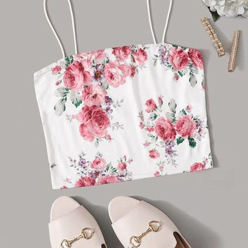 Floral Print Cami Crop Top