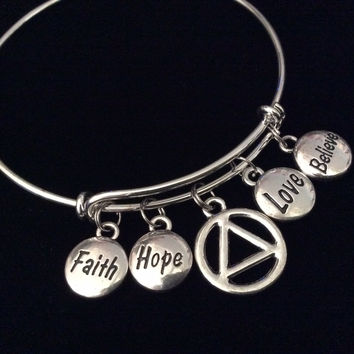 Love Faith Believe Hope AA Recovery Symbol Charm Bracelet Expandable Adjustable Silver Wire Bangle Inspirational Meaningful