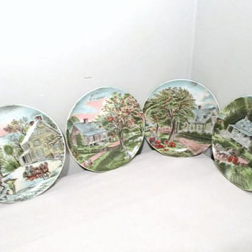 Currier and Ives Four Season Decorative Plates, Wall Hanging Winter Spring Summer Autumn