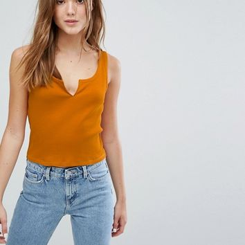 Weekday Crop Tank with Front Opening at asos.com