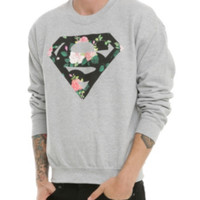 DC Comics Superman Floral Logo Crewneck Sweatshirt 3XL