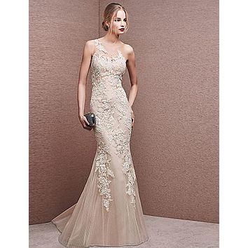 Mermaid / Trumpet Jewel Neck Floor Length Lace / Tulle Sexy Formal Evening Dress 2020 with Appliques