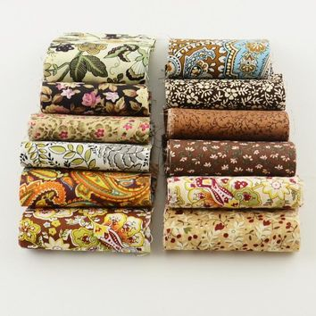 2015 royal brown theme 12pcs/lot 100%cotton fabric 7cm x 50cm jelly roll fabric trips DIY quilting for patchwork crafts textile