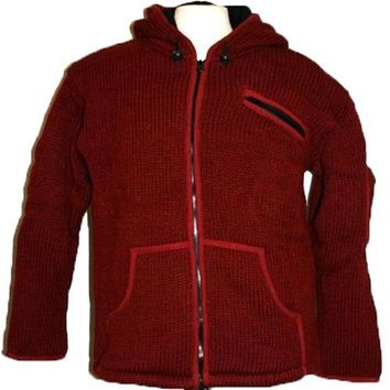 920 Wool Fleece Sherpa Coat Jacket Sweater (Burgundy, M)