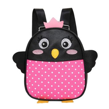 Toddler Backpack class Baby Boys Girls Kids Penguin Pattern Animals Soft Backpack Toddler School Bag High Quality PU Leather Boys Girls Cute Backpacks AT_50_3