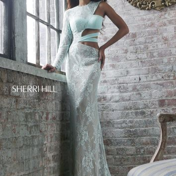 Sherri Hill 21279 One Sleeve Cut Out Prom Dress