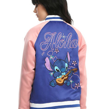 Disney Lilo & Stitch Blue & Pink Girls Satin Souvenir Jacket