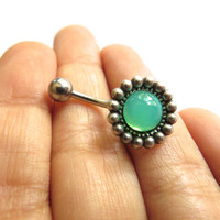 Opal Green Flower Daisy Faux Stone Gem Gemstone Belly Button Ring Navel Piercing Stud Bar Barbell Antique Silver Brass