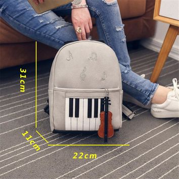 Fashion  Backpack For Teenage Girls Bookbag Students School music center note bag