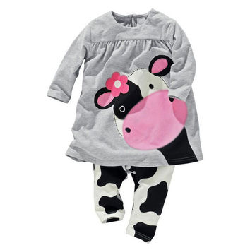 Girls Clothing Sets Mickey Head Hoodies+Pants 2pcs/Set Baby Kids Casual Long-Sleeved T-shirt Dot Leggings SetBaby Girls Clothing V30