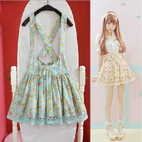 Sweet floral bud silk dress braces skirt
