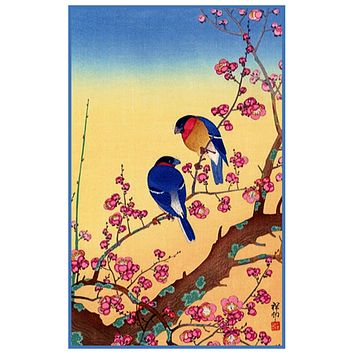 Japanese Artist Ohara Shoson's Nightingale Birds in Plum Blossoms Counted Cross Stitch Pattern