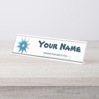Blue bullet hole. Add your text. Desk Name Plate