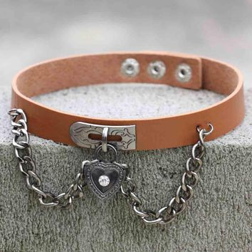 Chain Leather Choker