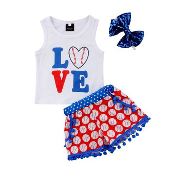 Baseball Love Outfit with Bow