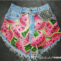 Watermelon Yum Yum High Studded Waisted Denim Shorts