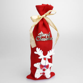 Christmas Red Wine Bottle Cover Bag Dinner Table Home Party Decoration Deer Christmas Tree Santa Claus FULI