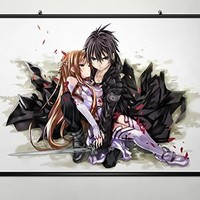 Home Decor Anime Sword Art Online Cosplay Wall Scroll Poster Kirito & Asuna 23.6 X 17.7 Inches-013
