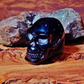 Huge Shining Black Titanium Skull Ring for Men