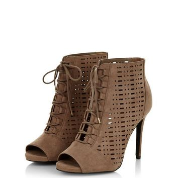 Wide Fit Brown Suedette Laser Cut Out High Heels
