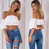Solid Color Fashion  Off Shoulder Middle Sleeve Strap Chiffon Shirt Crop Tops