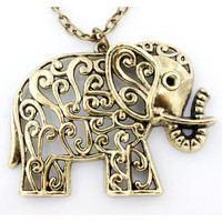 Pretty Retro Gold Hollow Elephant Necklace