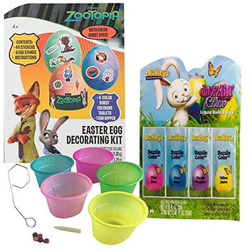 Disney Zootopia Easter Egg Decorating Kit with Coloring Cups and Dazzlin Liquid Egg Dye Bundle