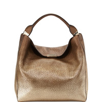 Pebbled Metallic Hobo Bag, Camel - Burberry
