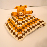 Yellow Giraffe Lovey, Baby Snuggle Blanket, Amigurumi Giraffe, Cream Brown Crochet Lovey, Giraffe Plush, Security Blanket