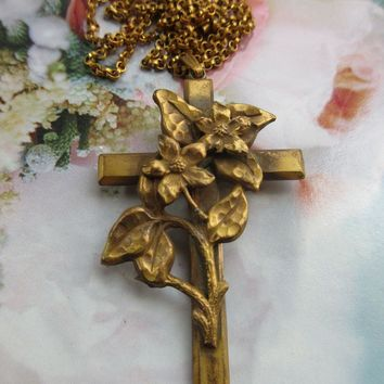 Antique Art Nouveau Cross Necklace