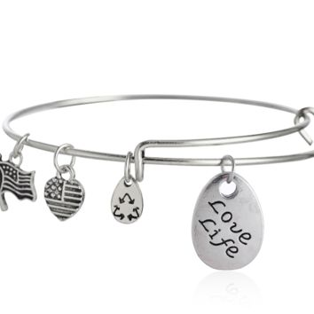 "Alex and Ani style letter ""Love life"" pattern pendant charm bracelet,a perfect gift !"