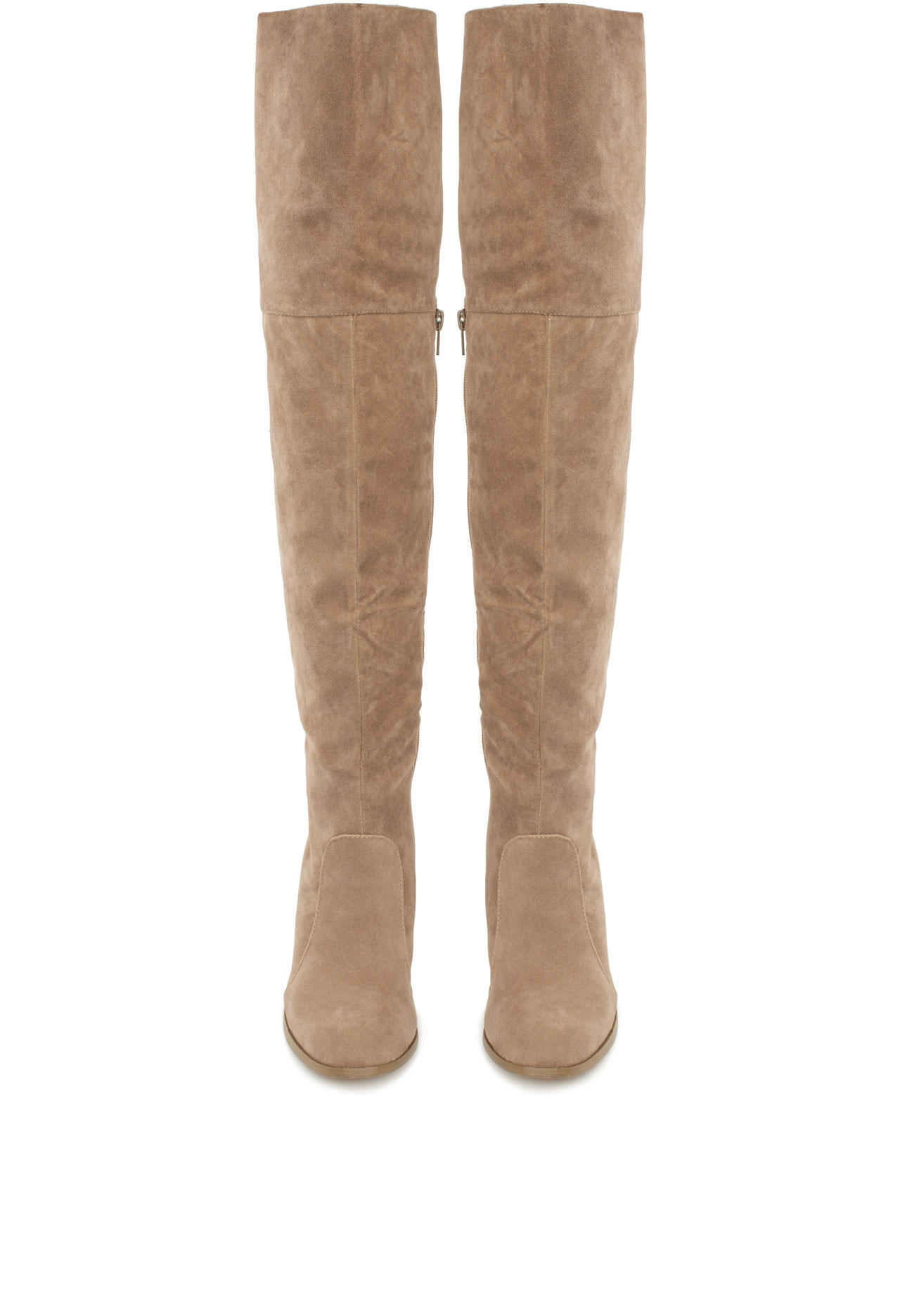 Locklyn Suede Knee High Boots - Taupe from Shop Priceless