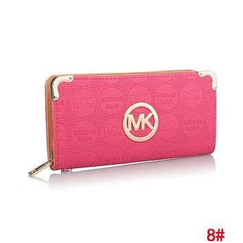 MK MICHAEL KORS Popular Women Leather Zipper Purse Wallet Rose Red