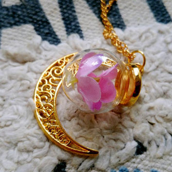 fabric flower pink hydrangea necklace  in glass moon  jewel gift for her vintage cute golden chains pendant birthday valentine's day