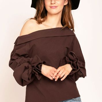 Young17 off The Shoulder Bow Tie Sleeves Shirt