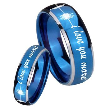 His Her Glossy Blue Dome Sound Wave i love you more more Two Tone Tungsten Wedding Rings Set
